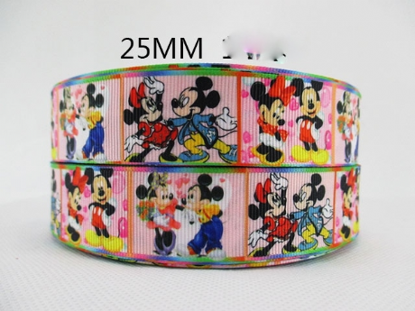 1 METRE NEW MINNIE + MICKEY MOUSE RIBBON SIZE 1 INCH BOWS HEADBAND BIRTHDAY CAKE